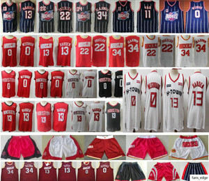 2019-20 New HoustonRocktes James 13 Harden Jersey Russell 0 Westbrook Red White Clyde 22 Drexler Hakeem 34 Olajuwon Basketball Jerseys
