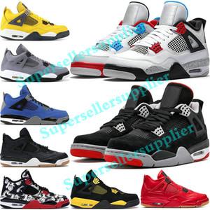 Nike air jordan 4 Retro shoes Basketball Shoes homens laser em preto goma trovão Royalty tatuagem quentes rapotors lava de designer sneakers IV formadores dinheiro Pure