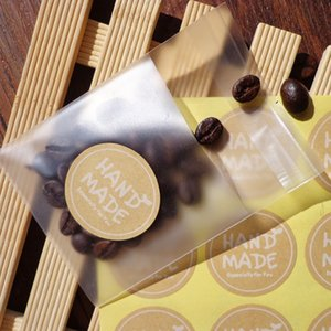 Main ronde Fait Kraft autocollants de joint de papier d'emballage artisanat étiquettes main point d'étanchéité autocollant 3.5cm Les 500pcs Party Decoration