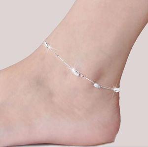 Sterling Silber Fußklets für Frauen Damen Mädchen Einzigartige Schöne sexy einfache Perlen Silber Kette Fußkettchen Knöchel Fuß Schmuck Geschenk Hochzeit