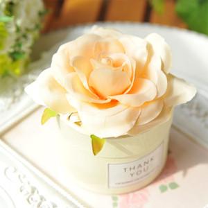 50pcs Champagne Hochzeit Pralinenschachtel schöne Seidenblume Runde Süßigkeiten Verpackungskarton Hochzeit Zuckerkasten Verschiffen frei