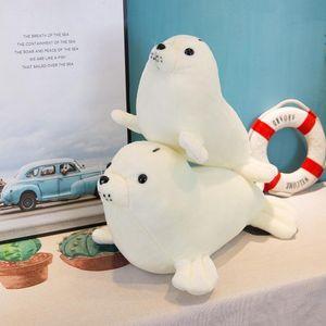 Atacado Crianças Snowy White Seal Boneca de Pelúcia Macia Simulação de Leão De Mar 2 Tamanhos Brinquedo de Pelúcia Travesseiro Bebê Meninos Meninas Boneca Presente