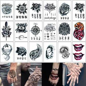 Mão MHT 12x15.5cm Etiqueta Fake Tattoo Preto Henna Rose Lobo Flor do crânio Joker para o Homem Mulher Arm Tornozelo Ombro impermeável Tatuagem Temporária
