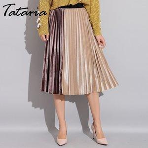 Falda de mujer Tataria de terciopelo plisado Primavera Otoño 2019 Faldas de retazos de cintura alta para mujer Falda de terciopelo plisada de una línea Y19071601