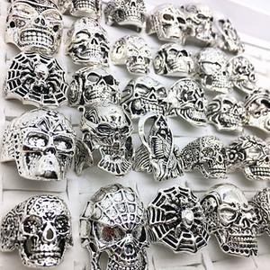 30pcs cráneo suena mujeres hombres del punk rock de plata de metal ciclistas esqueleto anillos de la joyería vintage regalos Patry lotes al por mayor a granel de nuevo