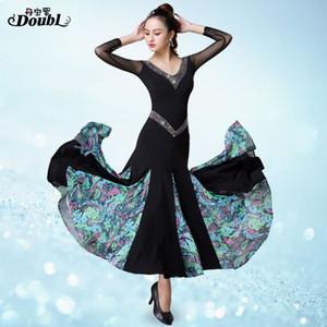 Doubl Moderne Robe De Haute Qualité Danse De Salon Danse À Manches Longues Concours De Mode National Standard Performance Exercise Profession