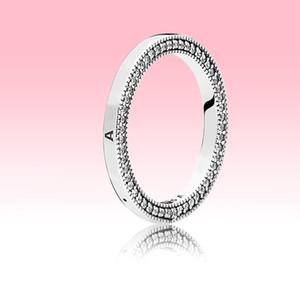 Женщины Mens Band Rings CZ Diamond Свадебные украшения для Pandora 925 Стерлинговые Серебряные Серебряные Сердца Кольцо с оригинальной коробкой