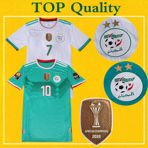 Champion Maillot 2 Etoiles New Algérie Soccer Jersey 2019 Domicile Extérieur Mahrez BOUNEDJAH Feghouli BENNACER Atal Algérie Maillot de Foot