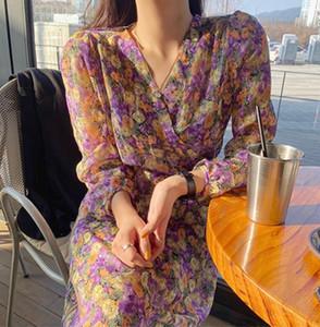 VICONE Coreia do Sul ins spring sweet romantic temperament of floral chiffon dress