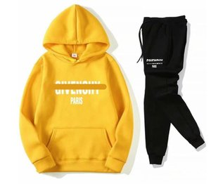 Spring Autumn Sportswear Fitness Tracksuit Men Hoodies Black And White Sets Casual Mens Clothing 2PC Sweatshirt+Sweat Pants