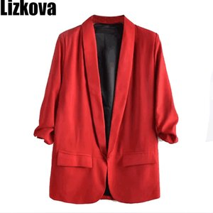 Cheap Blazers 2020 Spring Three Quarter Sleeve Thin Blazer Jacket Summer Solid Color Small Suit Office Lady Loose Blazer