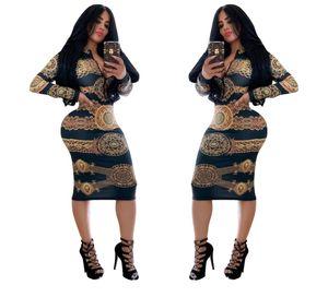 2019 African Dress Dashiki Women Print Slit T Shirt Dresses Casual Long sleeve Vestidos Africa Clothes T200702