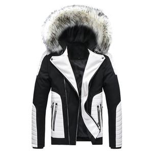 Homens Inverno Brasão de algodão New gola de pele destacável com capuz Pu Jacket Europa Tamanho Grande Grosso Cotton Vestuário Doudoune Homme