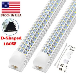 V-Shaped 120W 2ft 4ft 5ft 6ft 8ft Cooler Door Led Tubes T8 Integrated Led Tubes Double Sides Led Lights 85-265V Stock In US