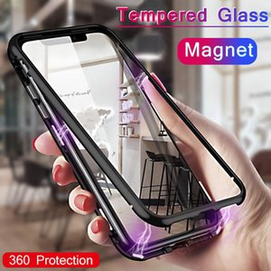 Manyetik Gizlilik temperli cam Mıknatıs Metal Telefon Kılıfı için iphone11 11Pro 11 Pro Max 6 6s 360 Koruyucu Kapak için Iphone XS MAX X XR 8 7 6