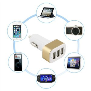 Portátil USB de 3 puertos del cargador del coche al azar del color Dropshipping 12V / 24V 2.1A 1A rápida de carga Puertos adaptador triple del cargador automático