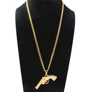 Exageración Rhinestone Revolver Colgante Collar Hip-hop de la aleación chapado en oro collar para los hombres accesorios de la joyería del partido creativo al por mayor