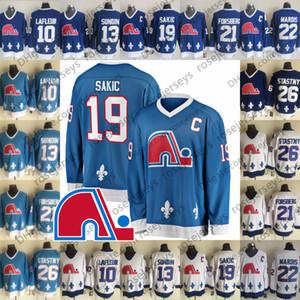 Vintage Quebec Nordiques Clásico de invierno Azul Jersey 10 Guy Lafleur 13 Alfombrillas Sundin 19 Joe Sakic 21 Peter Forsberg 26 Peter Stastny Marois