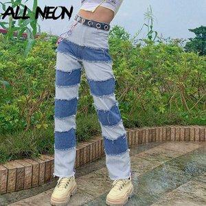 ALLNeon Y2K E-fille Patching Sew Jeans piquées pour femmes Hip Hop Hight taille Denim Pantalons longs en vrac Fashion Chic tenue Streetwear