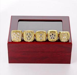 Fine SuperBowl FootballCowboys anillos de campeonato de madera sistema de la caja de joyería anillos de los hombres 5piece / set