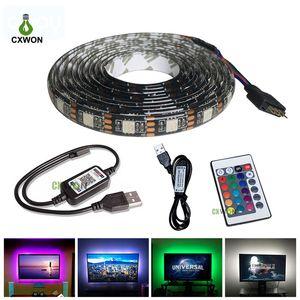 TV (24 개)는 키 리모콘으로 TV DC5V RGB 백라이트 방수 30leds / m 5050 LED 스트립 스트립