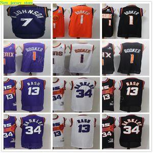 2020 New Black CIty Orange Basketball Devin 1 Booker Jerseys DeAndre 22 Ayton 13 Steve Nash 34 Charles Barkley Retro Stitched Jersey