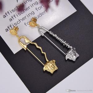 primavera e no verão europeu e americano novo estilo pin brincos de luxo personalizado material de bronze S925 Prata pinos brincos de duas cores