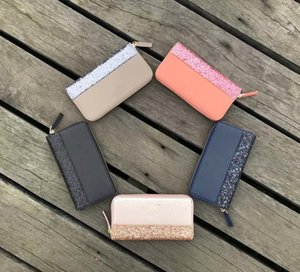Women KS Wallet Purse Glittler PU Leather Bags Fashion Zipper Handbags Lady Travel Phone Card Tote Mother Day Gifts 5 Color C42201