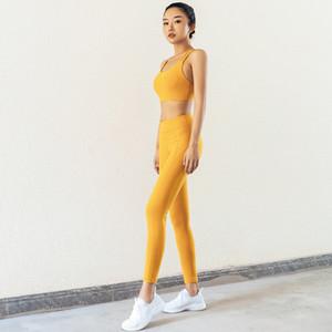 2020 Tasarımcı Kadınlar Yoga Suit Avrupa ve Amerika Kadın Çapraz Güzellik Geri Gömlek Külotlu çorap Kadın iki parça bir takım 3 Renkler S-XL Hızlı kurutma