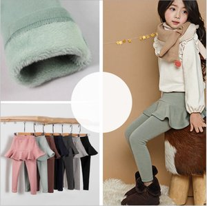 Girls Ruffle Skirts Pants Toddler Solid Velvet Culottes Kids Thicken Warm Leggings Winter Plain Tights Boutique Trousers Baby Clothing B6993