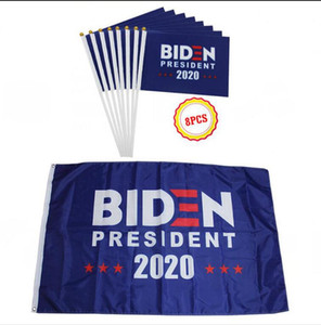 8pcs / lot 2020 Joe Biden drapeau drapeaux main set US Amérique Election présidentielle Polyester Décor bannière Keep America Great Banners LJJA4138