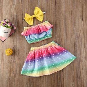 Bebé del verano del bebé ropa del arco iris envuelta Conjuntos Pecho + falda + banda de sujeción