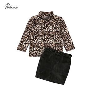 Леопардовый малыш малыш Baby Girls одежда комплект с длинным рукавом топ+рябить искусственная кожа юбка наряд весна осень девушки костюмы