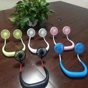2019 Ventilatori sportivi portatili Ventilatori USB portatili a doppio collo per uso domestico in ufficio Ventilatore elettrico per laptop con doppie lame laterali