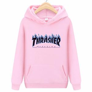 2020 새로운 THRASHER14 컬러 인쇄 풀오버 남성과 여성 커플 모델의 가을과 겨울 패션 캐주얼 까마귀는 느슨한 스웨터 셔츠