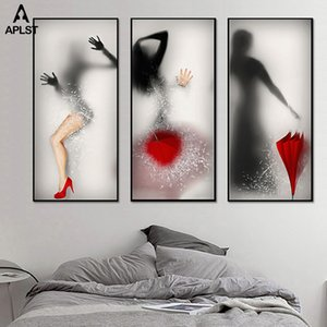 Hazy Naked Women Prints & Posters Sexy Nude Girls Leg Umbrella Break Glass Canvas Painting Wall Picture for Living Room Bathroom