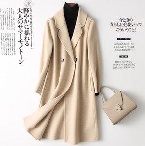 Automne et Hiver Double-Sided pur manteau cachemire Veste longue mince laine vierge Cardigan Pure Color