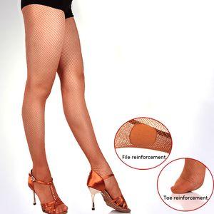 Medias de rejilla Profesional Panti Latin Dance Seemless color sólido medias Ser88