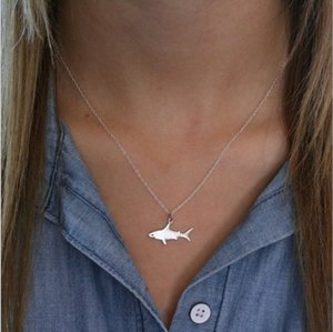 Womens Necklaces - Animal Charm Pendent Shark Shape Link Chain Necklaces ( Gold , Silver Tone)