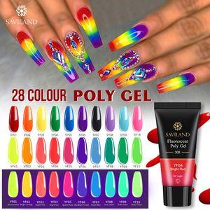 SAVILAND color Poli Gel dedo de extensión 28 colores UV rápido Gel de construcción 30g Polygel de uñas duro esmalte de uñas