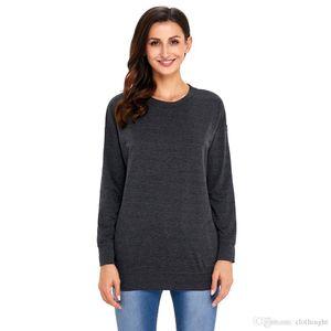 ROMWE Solid Color Sweatshirt Damen 2018 Frühling Herbst Winter Rundhals Langarm Damen Freizeit Hoodie
