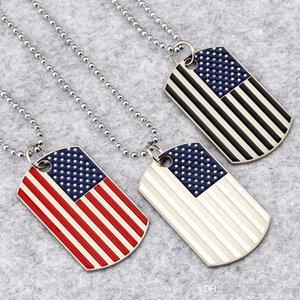 Hip Hop américain Colliers drapeau national pendentif hommes S place Carte militaire Usa Charm Bead chaîne pour les bijoux femmes Rapper Mode