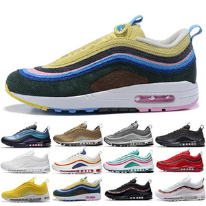 2018 97 Mens Shoes Womens Running Shoes Cushion OG Silver Gold Sneakers Sport Athletic Men 97 Sports Outdoor Shoes air SZ5.5-11