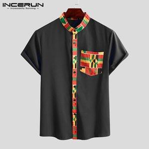 INCERUN étnico estilo de la camisa Impreso hombres de manga corta ropa africana Dashiki del encuentro casual de cuello Streetwear Tops Mens de las camisas 2020