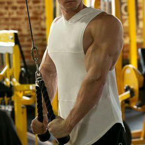 Été Colorblock à capuchon Gilet Gilet à capuche Homme Sweat Débardeurs Gym Muscle manches Sport T-shirt