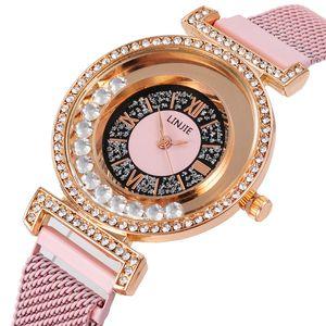 Hot Quicksand Bead Watches Women Fashion Quartz Wrist Ladies Watch Fashion Rhinestone Magnet Women Bracelet Watches Reloj Relogio