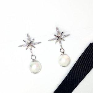 Moda tasarımcısı lüks elmas zirkon süper ışıltılı elegent İnci kolye bırak damızlık dangle avize küpe kadın kızlar için