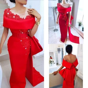 Unique Red Mermaid Prom Evening Dress Sheath Applique Lace Beaded High Split Formal Party Gowns Red Carpet Dress BC2244