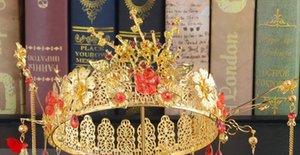 Tocado de novia Tallado de novia chino Antiguo Cheongsam Xiuhe Ropa Aleación Corona Tocado