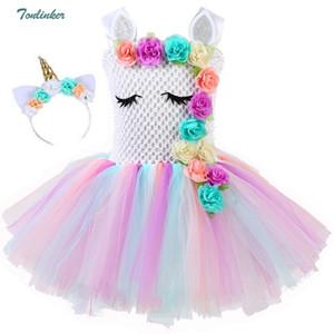 Girls Unicorn Flowers Tutu Dress With Headband Cotton Lining Matching Horn Hair Hoop Set for Kids Birthday Theme Party Dress